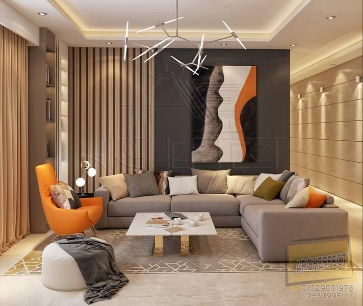 Living room:  غرفة المعيشة تنفيذ Archeffect,