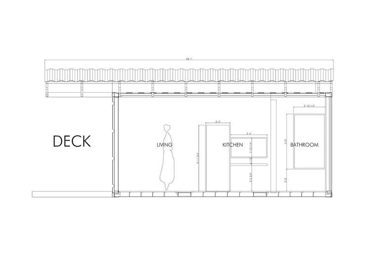 Corte longitudinal: Casas prefabricadas de estilo  por Alexander Chivico,