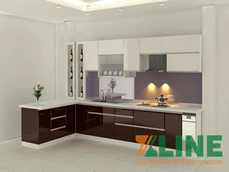 Thiết kế tủ bếp với mẫu tủ bếp từ gỗ công nghiệp ấn tượng, sang trọng:  Tủ bếp by TỦ BẾP GỖ VIỆT,