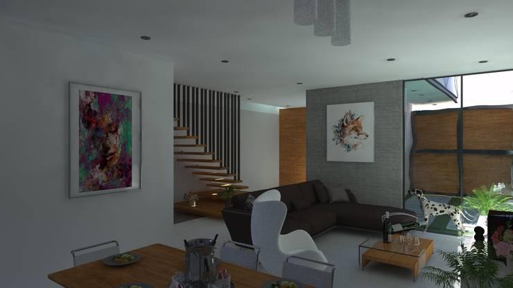 SALA: Salas / recibidores de estilo  por TECTONICA STUDIO SAC,