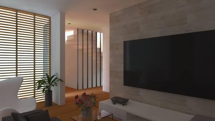 ESTAR: Salas / recibidores de estilo  por TECTONICA STUDIO SAC,