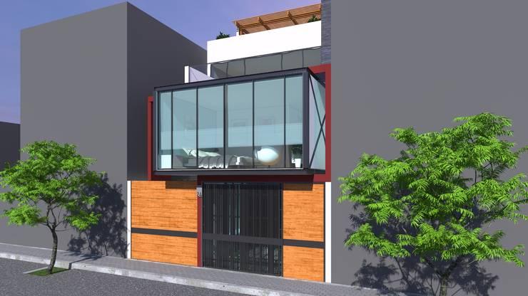 FACHADA: Casas unifamiliares de estilo  por TECTONICA STUDIO SAC,