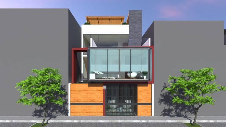 FACHADA: Casas de estilo  por TECTONICA STUDIO SAC,