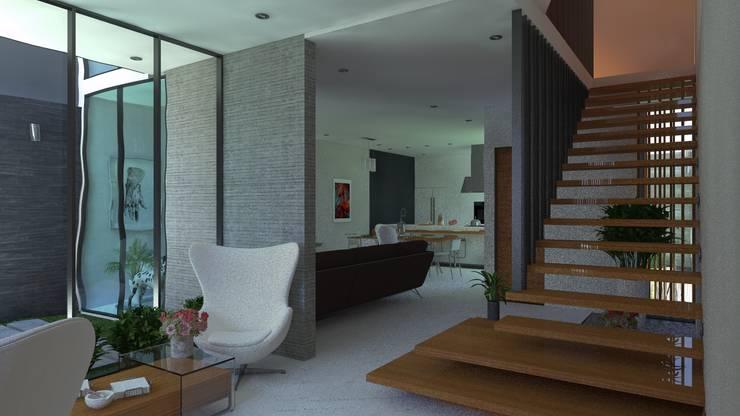 LOBBY: Salas / recibidores de estilo  por TECTONICA STUDIO SAC,