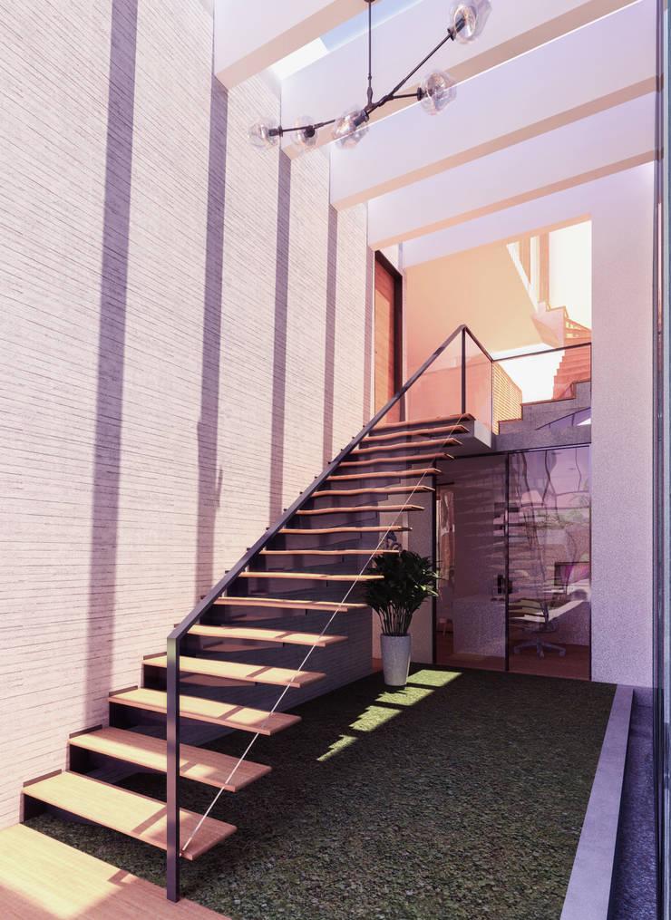 ESCALERA: Escaleras de estilo  por TECTONICA STUDIO SAC,