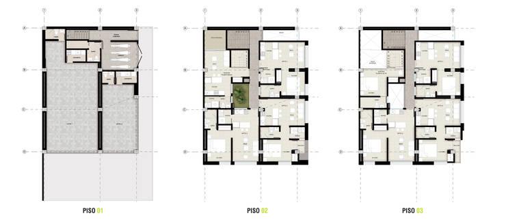 PROYECTO DE VIVIENDA MULTIFAMILIAR / APARTAESTUDIO: Casas multifamiliares de estilo  por UN estudio de Arquitectura,