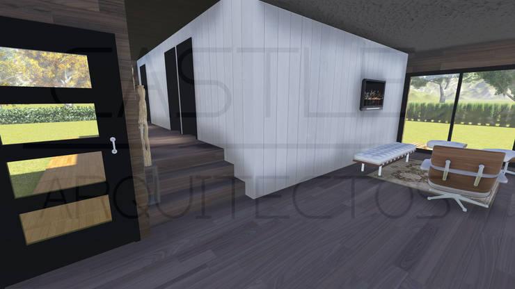 REFUGIO 30: Casas de campo de estilo  por CASTLE ARQUITECTOS, Mediterráneo Hierro/Acero