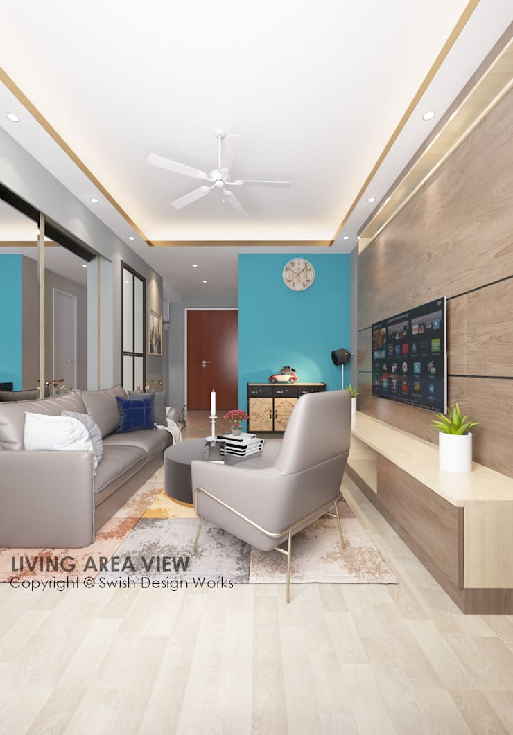 Living room:  Living room by Swish Design Works,