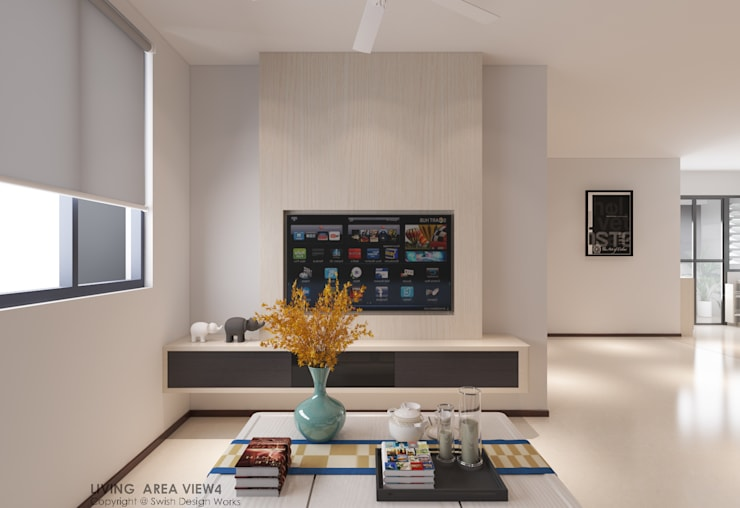 TV feature wall:  Living room by Swish Design Works,