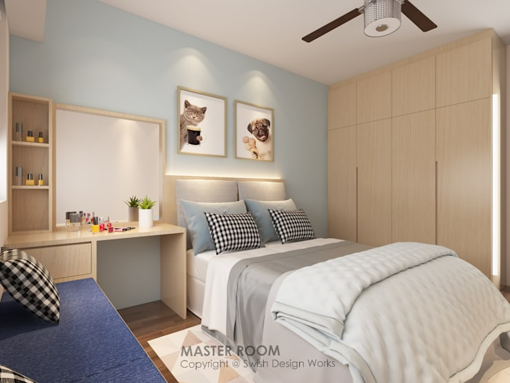 Master bedroom:  Small bedroom by Swish Design Works,