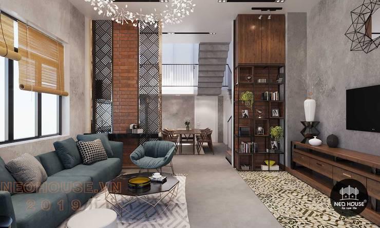 Thiết kế thi công nội thất biệt thự phố 3 tầng tại quận 12:  Living room by NEOHouse,