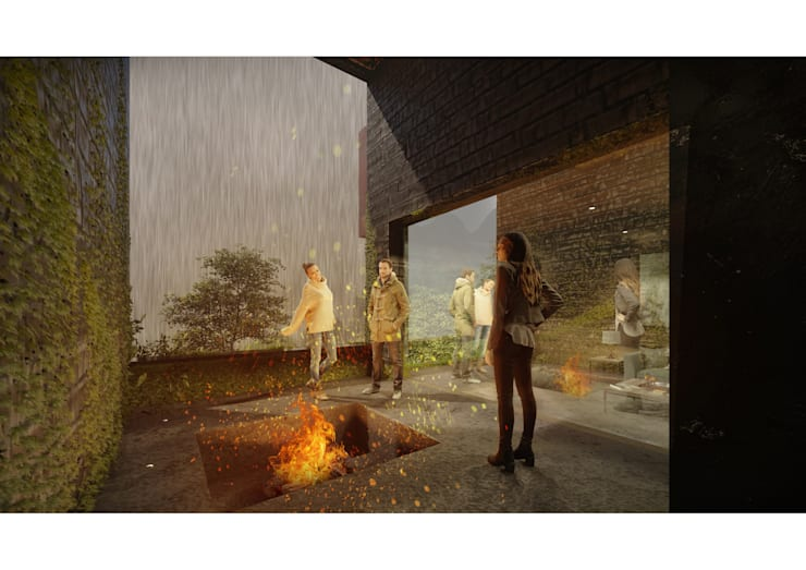 Casa CL - Interior 01: Terrazas  de estilo  por Zenobia Architecture,