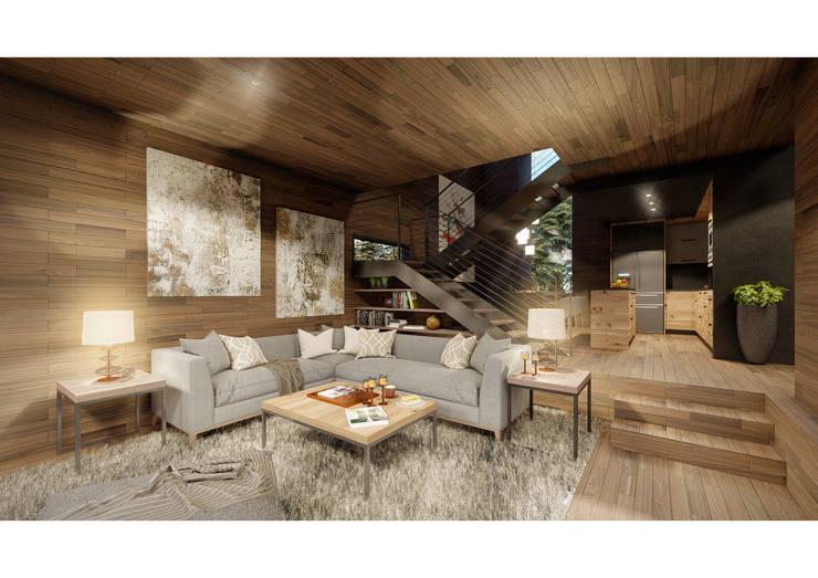 Casa CL - Interior 02: Livings de estilo  por Zenobia Architecture,