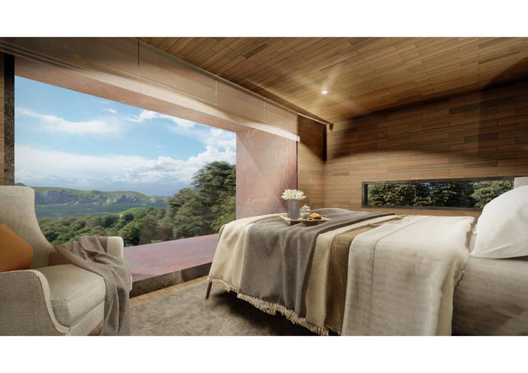 Casa CL - Interior 04: Dormitorios de estilo  por Zenobia Architecture,