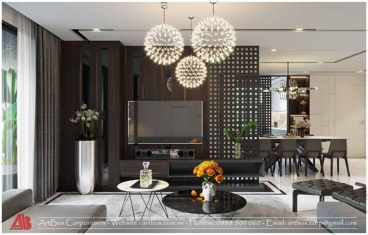 Thiết kế nội thất chung cư Diamond:  Living room by Thiết Kế Nội Thất - ARTBOX,