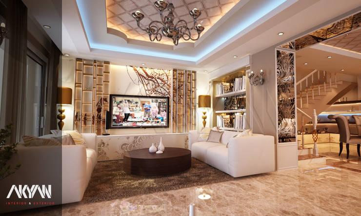 غرفة معيشة رئيسية : الحد الأدنى  تنفيذ AKYAN, تبسيطي مواد مُصنعة Brown