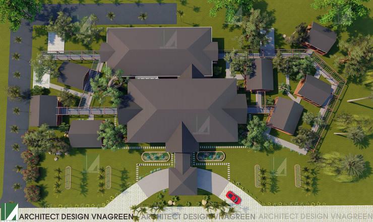 NHÀ HÀNG PHÂN TÁN QUANH NHÀ HÀNG CHÍNH - 1 TẦNG:   by công ty cổ phần Thiết kế Kiến trúc Việt Xanh,
