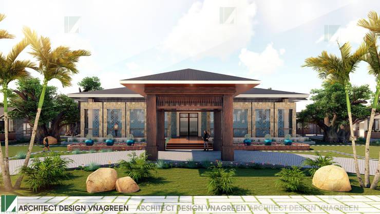 NHÀ HÀNG PHÂN TÁN QUANH NHÀ HÀNG CHÍNH – 1 TẦNG:   by công ty cổ phần Thiết kế Kiến trúc Việt Xanh,