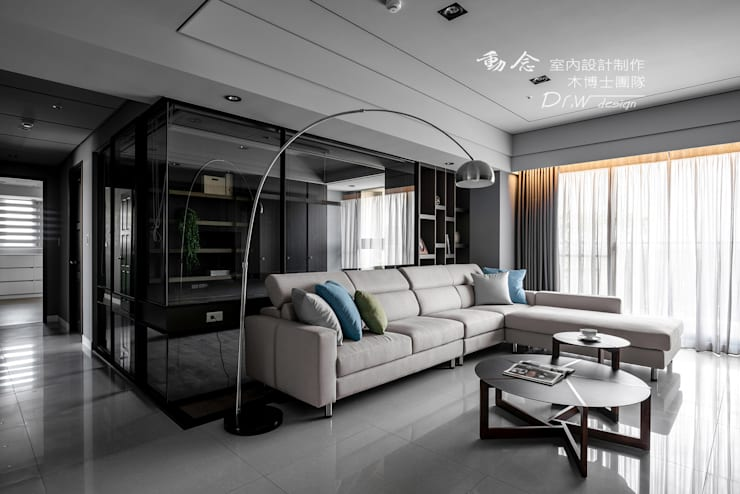 Projekty,  Salon zaprojektowane przez 木博士團隊/動念室內設計制作, Nowoczesny