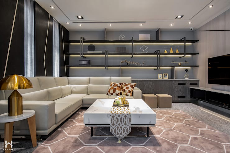 Salas / recibidores de estilo  por 在家空間設計, Moderno Madera maciza Multicolor