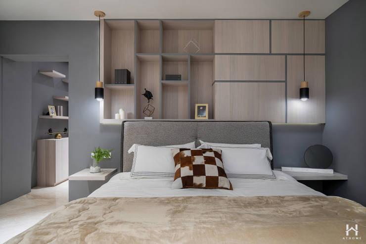 Projekty,  Sypialnia zaprojektowane przez 在家空間設計, Nowoczesny Lite drewno Wielokolorowy