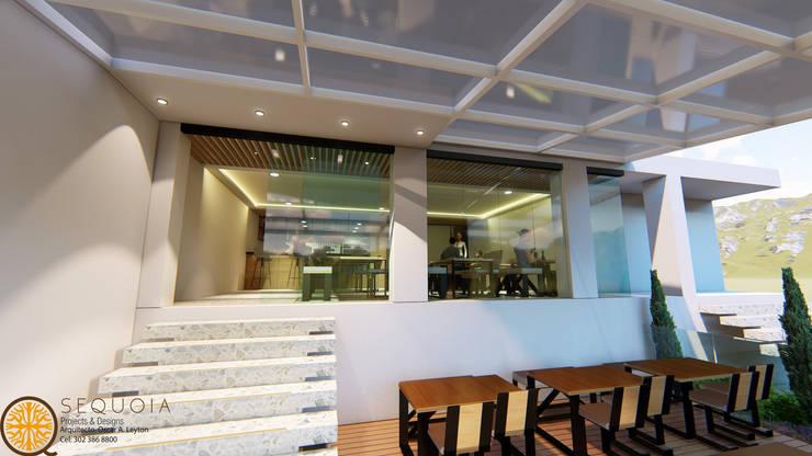 DISEÑO Y REMODELACION RESTAURANTE JERONIMOS: Balcones y terrazas de estilo  por SEQUOIA. Projects & Designs,