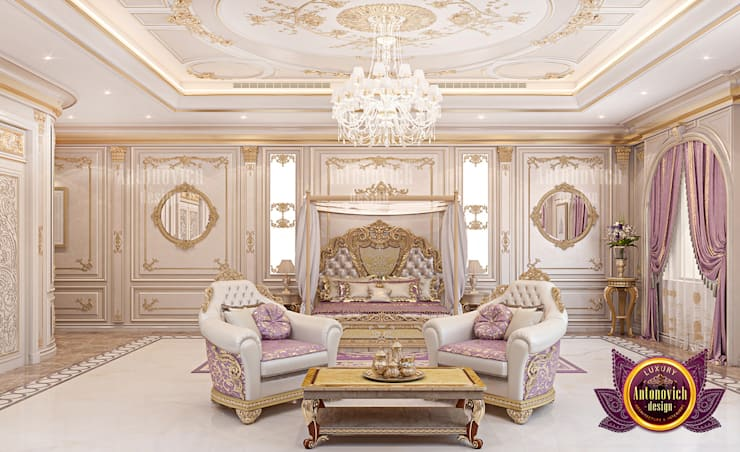 Stunning Luxury Bedroom for a Queen:   by Luxury Antonovich Design,