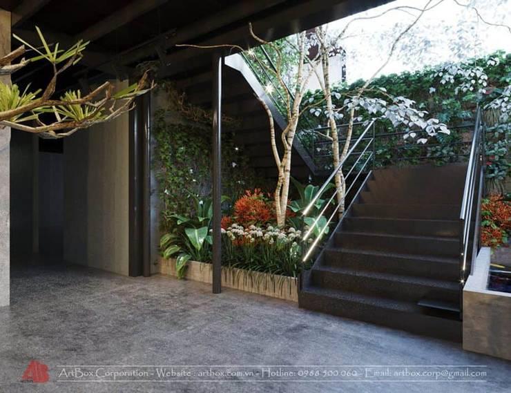 Thiết kế nội thất quán Ecopark Saigon Coffee & Restaurant:  Cầu thang by Thiết Kế Nội Thất - ARTBOX,