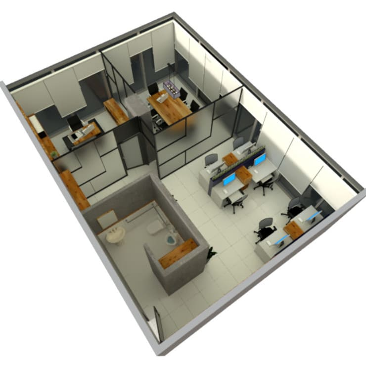 plano de oficina3d: Estudio de estilo  por CYNTHIA SALVATIERRA NOA,