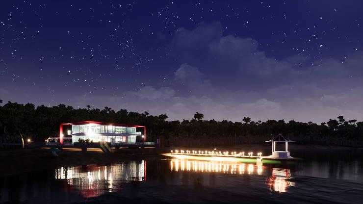 海灘太陽能藝術玻璃別墅之夜景:  度假別墅 by 盧博士虛擬實境設計工坊,