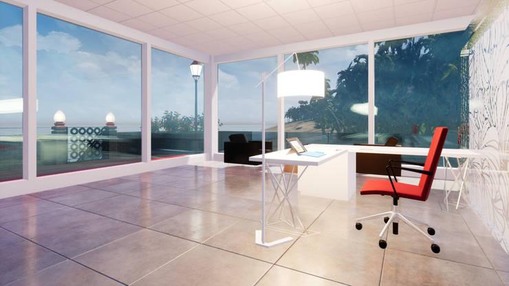 海灘太陽能藝術玻璃別墅之室內空間- 書房:  書房/辦公室 by 盧博士虛擬實境設計工坊,