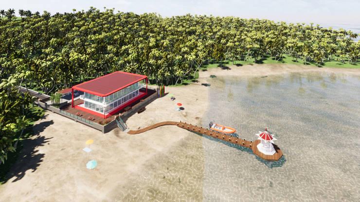海灘太陽能藝術玻璃別墅之紅色太陽能玻璃屋頂與車棚:  平屋頂 by 盧博士虛擬實境設計工坊,