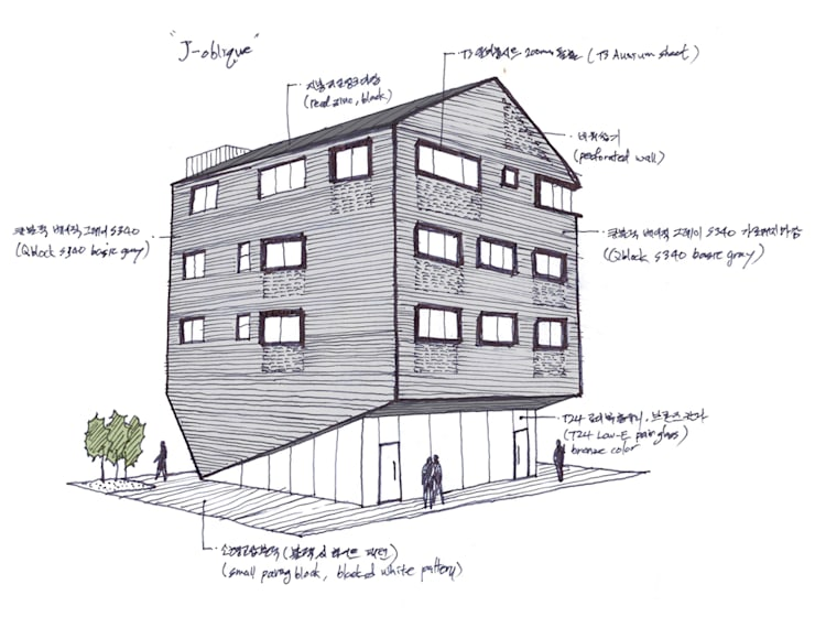 J_oblique 제이오블리크_평택시 고덕지구 FD11-4-9 상가주택: AAG architecten의  주택,