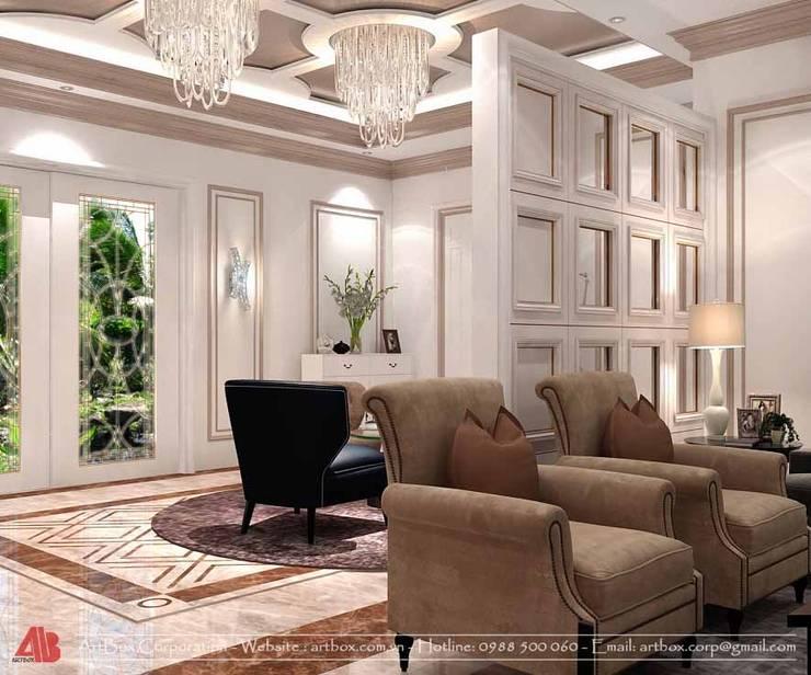 Thiết kế kiến trúc và nội thất biệt thự Mr. Sơn:  Living room by Thiết Kế Nội Thất - ARTBOX,
