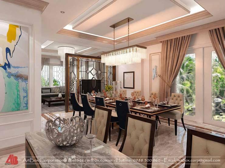Thiết kế kiến trúc và nội thất biệt thự Mr. Sơn:  Dining room by Thiết Kế Nội Thất - ARTBOX,