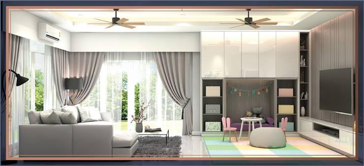 บ้านสร้างเอง 2 ชั้น โซนพระราม 3:  ห้องนั่งเล่น โดย BAANSOOK Design & Living Co., Ltd.,