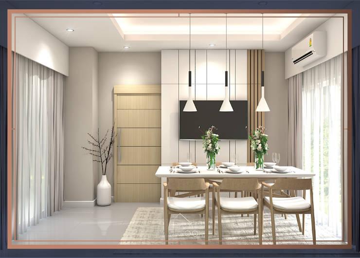 บ้านสร้างเอง 2 ชั้น โซนพระราม 3:  ห้องทานข้าว โดย BAANSOOK Design & Living Co., Ltd.,