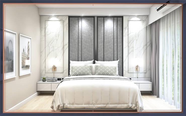 บ้านสร้างเอง 2 ชั้น โซนพระราม 3:  ห้องนอน โดย BAANSOOK Design & Living Co., Ltd.,