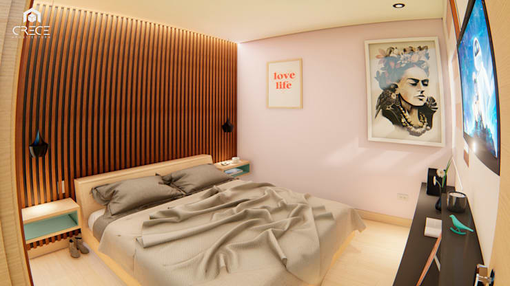 INTERIOR 25G / VIÑA SAN REMO: Habitaciones de estilo  por CRECE ARQUITECTURA SAS,