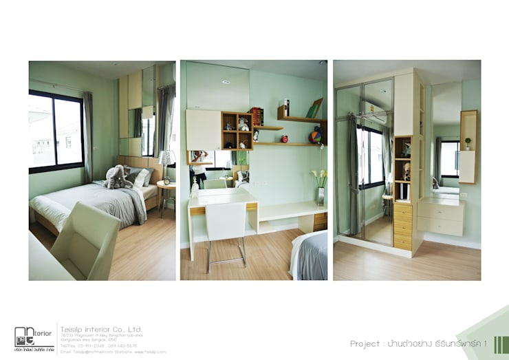 โครงการรับเหมาออกแบบตกแต่ง บ้านตัวอย่าง ธีรินทร์ พาร์ค 1: ผสมผสาน  โดย ไทศิลป์ อินทีเรีย taisilp interior, ผสมผสาน