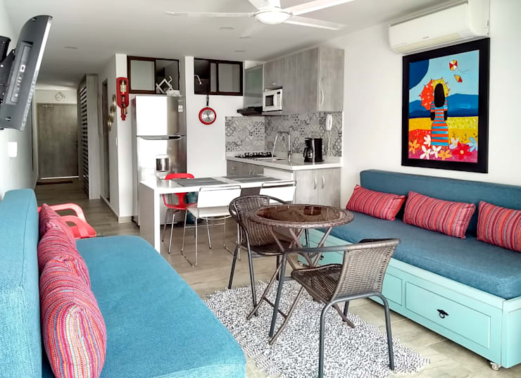 Vista panorámica del apartamento: Comedores de estilo  por Remodelar Proyectos Integrales,
