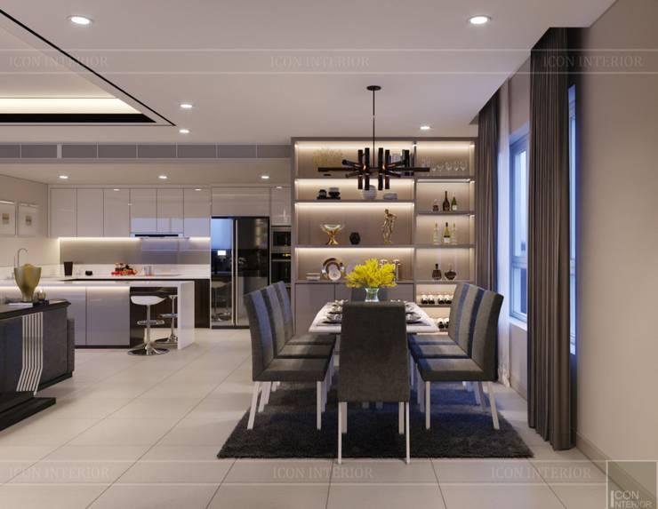 Thiết kế ấn tượng cho CĂN HỘ ĐẢO KIM CƯƠNG Phòng ăn phong cách hiện đại bởi ICON INTERIOR Hiện đại