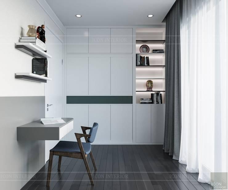 Thiết kế ấn tượng cho CĂN HỘ ĐẢO KIM CƯƠNG Phòng học/văn phòng phong cách hiện đại bởi ICON INTERIOR Hiện đại