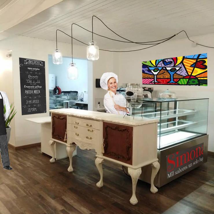CAFETERIA SIMONA: Muebles de cocinas de estilo  por AOG, Moderno Madera Acabado en madera