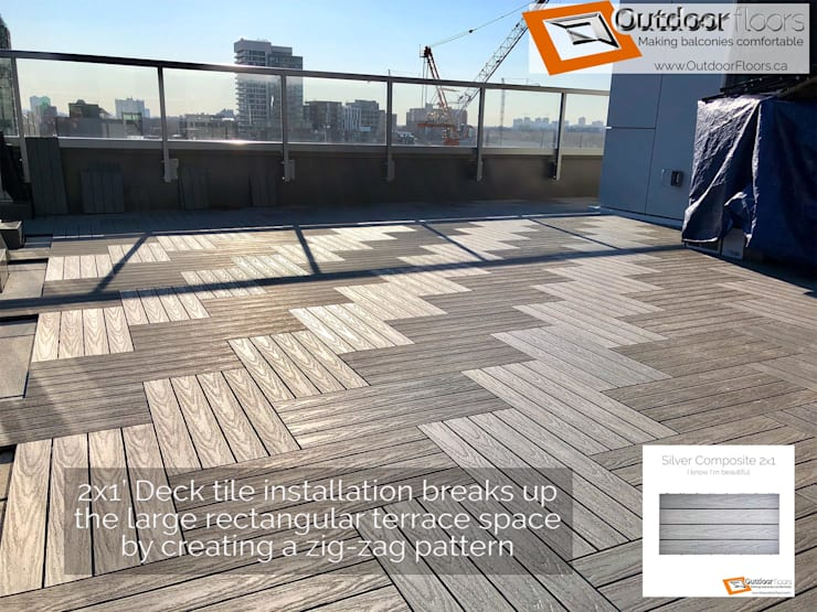 Sunlight gives false appearance of two different tiles however, it's simply just contrast playing eye kandy games Modern terrace by Outdoor Floors Toronto Modern
