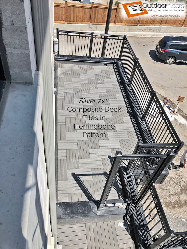Bird's eye view of another terrace showing the herringbone pattern Modern terrace by Outdoor Floors Toronto Modern Wood-Plastic Composite