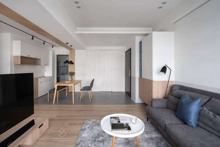 灰質地磚:  走廊 & 玄關 by 極簡室內設計 Simple Design Studio, 北歐風