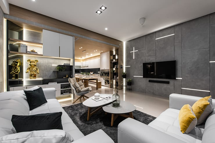 電視牆利用燈光做十字造型:  牆面 by Fertility Design 豐聚空間設計, 現代風