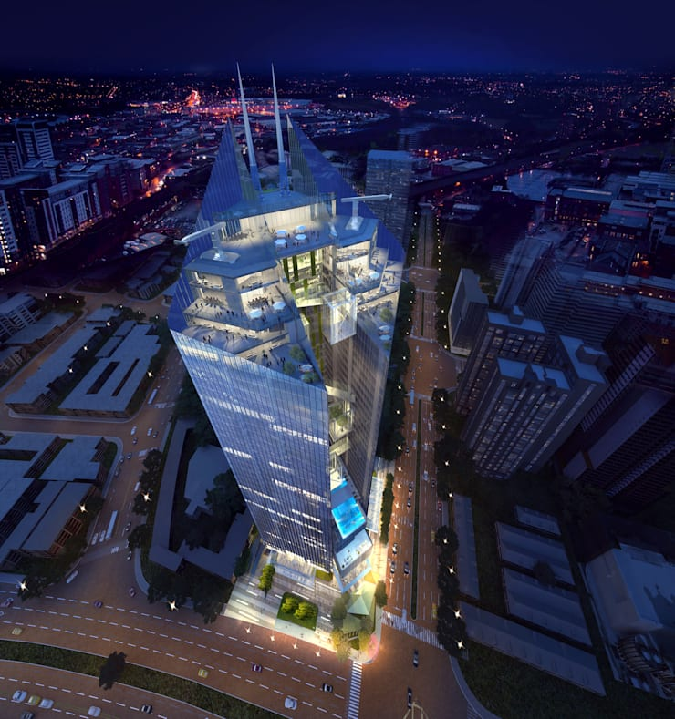 Commercial Bank Headquarters Mixed-use Project:  Study/office by Architecture by Aedas, Classic Metal