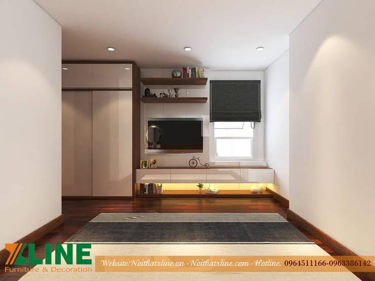 CHI PHÍ THI CÔNG NỘI THẤT CHUNG CƯ CĂN HỘ 80M2 Phòng ngủ phong cách hiện đại bởi NỘI THẤT XLINE Hiện đại Gỗ Wood effect